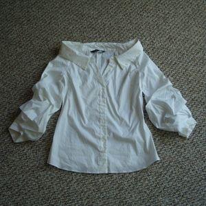 Zara white wide open neck shirt puffy sleeves M